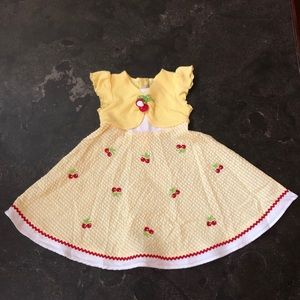 Yellow and white dress w/ cherry details - size 3T